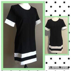 Black and White Block Color Shift Dress